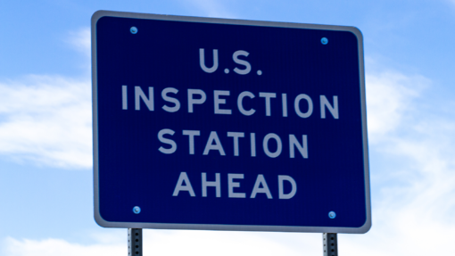 US border inspection sign