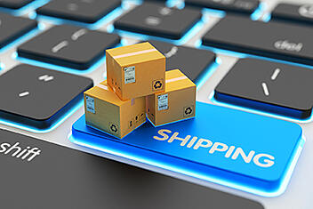 Internet shopping, online purchases, packages delivery and shipping service concept