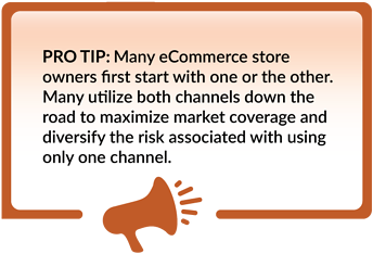 Many eCommerce owners start with one channel and expand