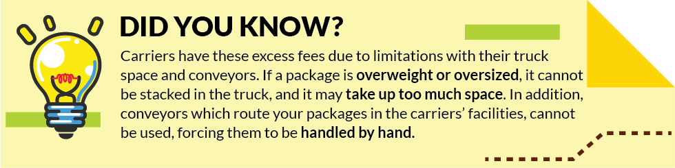 Excess Fees are Due to Size and Weight Restrictions