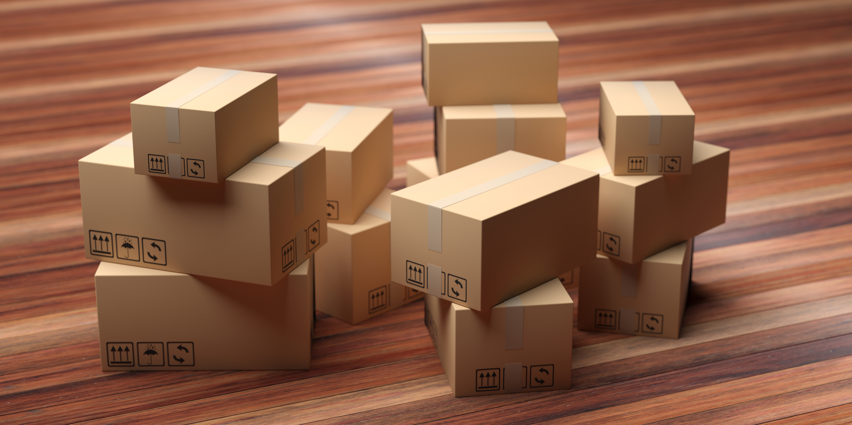 cardboard-packages-stack-on-wood-floor-3d-illustra-2PLRXUN