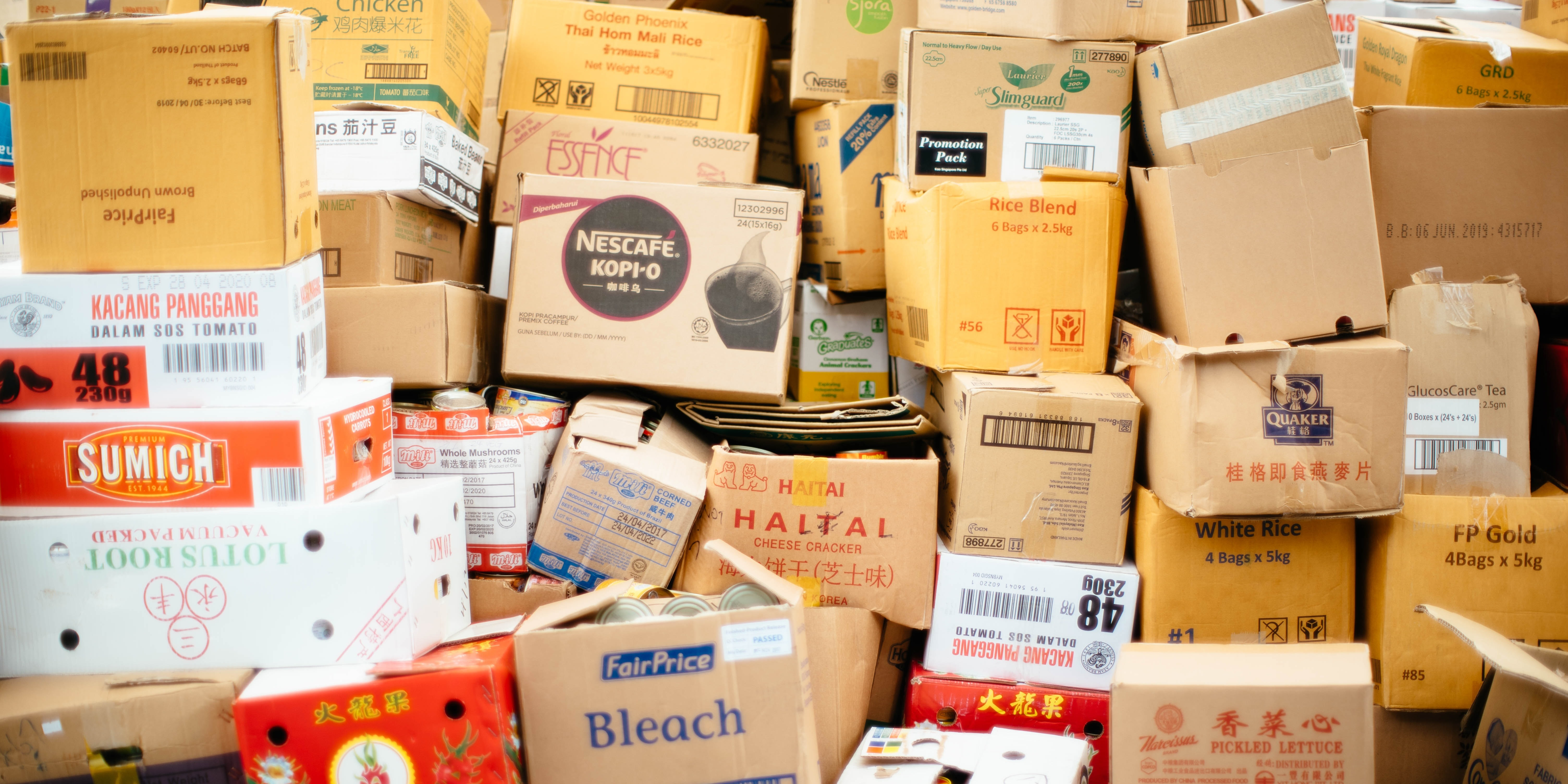 image with packages that have various brand names on them